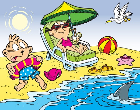 The illustration shows the children in the summer vacationers on the beach 矢量图像