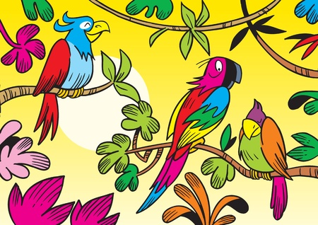 The illustration shows some beautiful tropical parrots. Illustration done in cartoon style. Stock Vector - 12073180