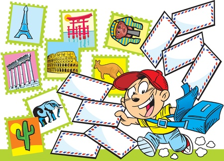 delivers: The illustration shows the boy-postman who delivers letters. Illustration done in cartoon style.