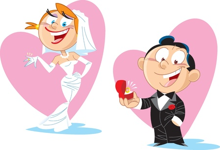 cartoon wedding couple: The groom gives his bride a ring.Illustration done in cartoon style, on separate layers. Illustration