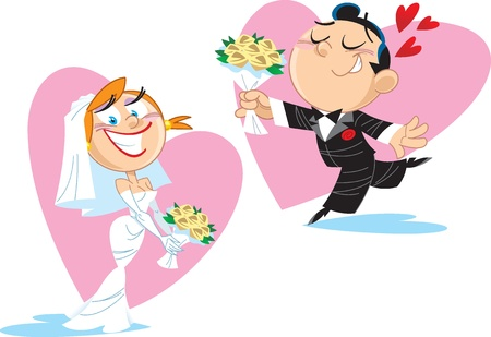 funny love: The groom gives the bride a bouquet of flowers.Illustration done in cartoon style, on separate layers.