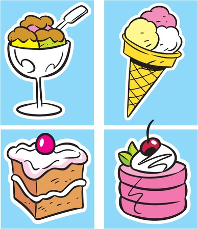 The illustration shows several types of sweet desserts. Illustration done in cartoon style, on separate layers.