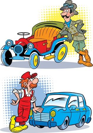 carro caricatura: Una imagen de un coche modelo antiguo y un transporte moderno. Cerca de los autom�viles es un conductor y mec�nico en el uniformed.Illustration hecho en estilo de dibujos animados, en capas separadas. Vectores