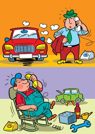 The illustration shows the driver of the car.He calls the service of technical service at the car repair.Illustration done in cartoon style, on separate layers. Ilustrace