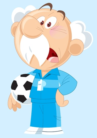 The illustration shows an elderly gray-haired man with the sports uniform. In his hands he holds a soccer ball. Illustration done in cartoon style, on separate layers. Stock Vector - 12497408