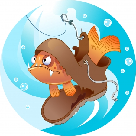 The illustration shows a funny fish that lives in an old shoe. Shoe caught on the fishing hook.Illustration done in cartoon style, on separate layers. Vector