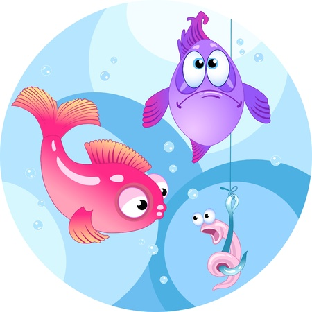 The illustration shows two colored fish. They are looking at a hook with a funny worm.Illustration done in cartoon style, on separate layers. Vector