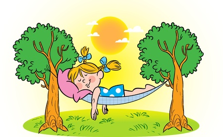 The illustration shows how a little girl sleeping in a hammock. Illustration done in cartoon style