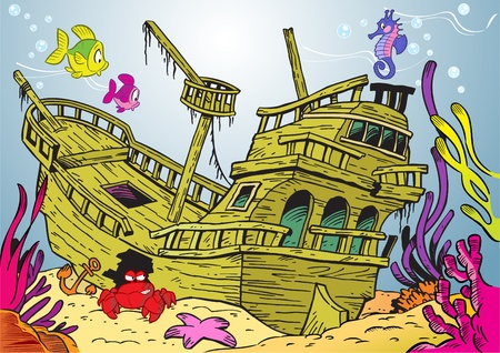 The illustration shows a sunken ancient ship. On lies on the ocean floor, around the swimming fish and seaweed Ilustrace