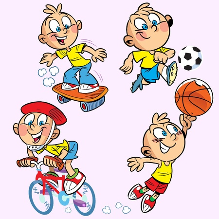 The illustration shows a boy who is engaged in several sports.Illustration done on separate layers, in a cartoon style.