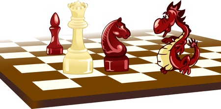chess move: The illustration shows a chess board. On it are chess pieces and the Dragon. Illustration done in cartoon style, on separate layers. Illustration