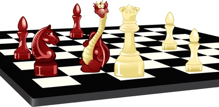 chess board: The illustration shows a chess board. On it are chess pieces and the Dragon. Illustration done in cartoon style, on separate layers. Illustration
