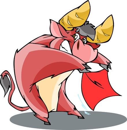 red bull: The illustration shows a funny cartoon bull in a red cloak, he performs the bullfight. Illustration