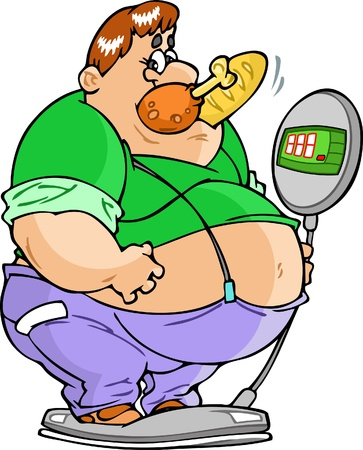 The illustration shows of a big fat man on the weighing-machine, his mouth a piece of chicken and loaves. Vector