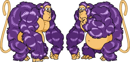 The illustration shows surprised gorilla in two similar poses. Illustration done in cartoon style on separate layers  Vector