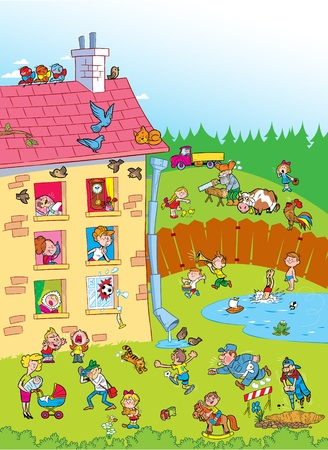 The illustration shows a house in the yard for several apartments.In the yard the children play. Illustration done in cartoon style.