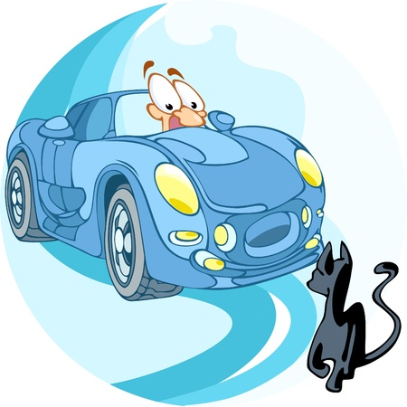 The illustration shows a man driving a car. He crosses paths with a black cat. In the man on the face of fear, as this is a bad omen. Illustration done in cartoon style, on separate layers.