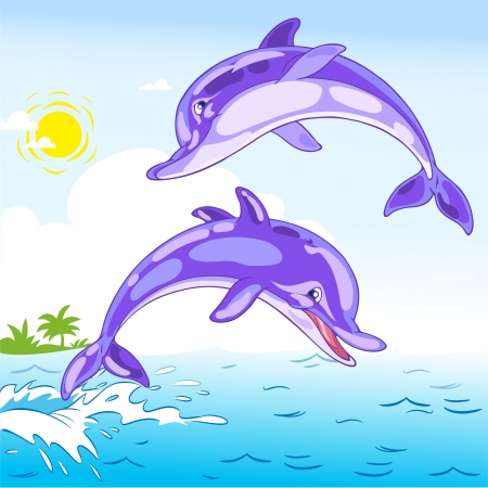 The illustration shows two dolphins playing in the sea. Illustration done in cartoon style, and on separate layers.  Vector