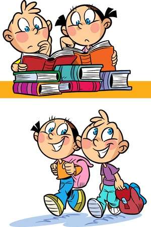The illustration shows a boy and a girl. They go to school and read books at the table. Illustration done in cartoon style, and on separate layers. Illustration