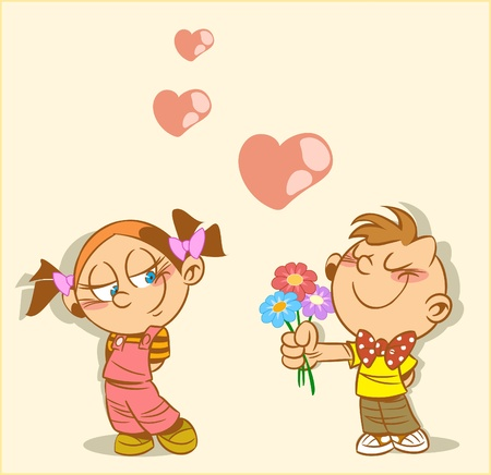 Boy and girl on the picture. Boy gives a girl flowers. This is a declaration of love.An illustration is divided into layers. Vector