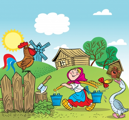 cartoon wood bucket: A young girl working in the yard of the house  Illustration done in cartoon style
