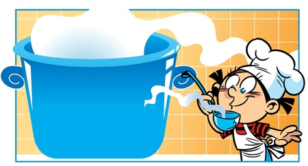ladle: The illustration shows a young girl cook  She cooks in a large saucepan  Illustration done in cartoon style