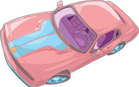 foreshortening: The illustration shows red car in dynamic foreshortening. Dorsal view. The illustration done in a comic book style.