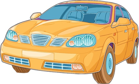comics car: The illustration shows yellow car that looks in camera. The illustration done in a comic book style on a white background.