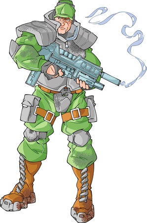 The illustration shows marine soldier. The soldier is standing with futuristic smoking gun in his arms. The illustration done in comic book style. Vector