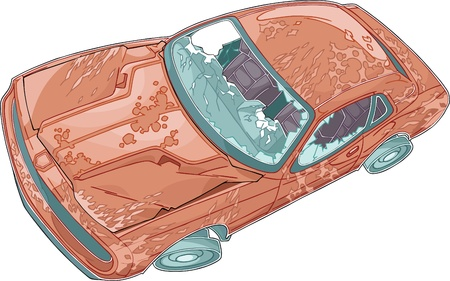 foreshortening: The illustration shows junk car in dynamic foreshortening  The car is covered of rust, cracked and scratched  The illustration done in comic book style  Illustration