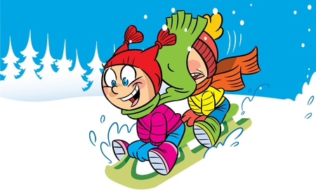 The illustration shows a boy and girl fun in the winter  They ride to the snow hills on sleds  Illustration done in cartoon style