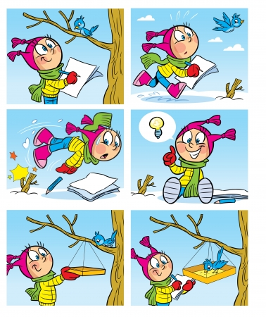The illustration shows a girl who draws a bird  She hung a bird feeder for the bird  Illustration made in the form of comics, cartoon style, on separate layers
