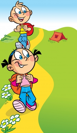 The illustration shows a boy and a girl tourists  They go on the hike  Behind them backpacks  Illustration done in cartoon style