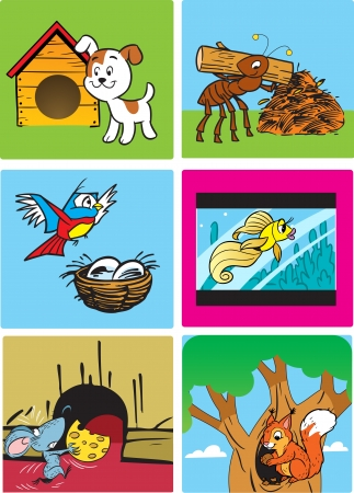 burrow:  The illustration shows the house of animals, insects, birds and fish  Illustration done in cartoon style, on separate layers  Illustration