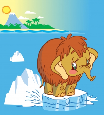 floe:  The illustration shows the baby mammoth. It stands on an ice floe in the middle of the ocean. Illustration done in cartoon style
