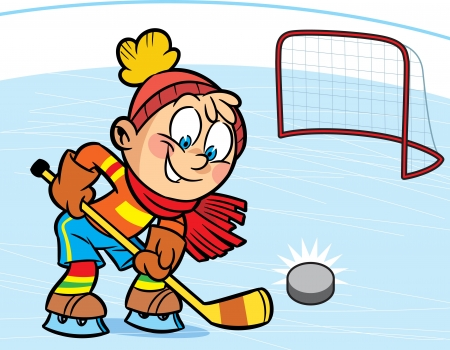 hockey stick: A boy playing hockey  He scored  the puck into the goal  Illustration done in cartoon style