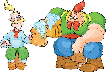 The illustration shows two Ukrainian Cossacks with wooden beer cups  One of that Cossacks is shorty, other is hulk  The illustration done in cartoon style  Illustration