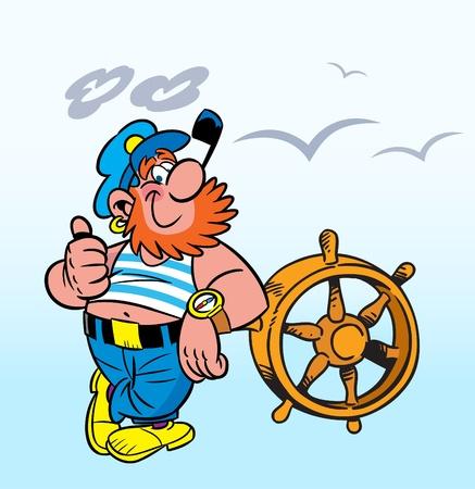 roer: De afbeelding toont de roodharige grappige kapitein van aan het roer