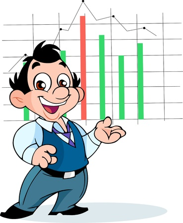 The illustration shows an office worker in a suit, which shows a graph. Illustration is presented in separate layers. Stock Vector - 14583121