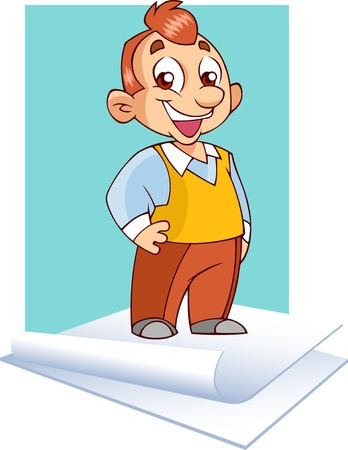 On the illustration shows an office worker who is on a sheet of paper. Illustration is presented in separate layers. Stock Vector - 14583111