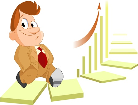 The illustration shows an office worker,  who climbs the symbolic ladder of success on the  background of the graph  Illustration is presented in separate layers  Stock Vector - 14583119
