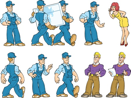 The Illustration shows work service guys and their clients blond man and red woman. Character shows different poses and actions. Work service guys are dressed in jeans uniforms and caps. One of actions is shows workers who carring the window. The Illust Stock Vector - 14741129
