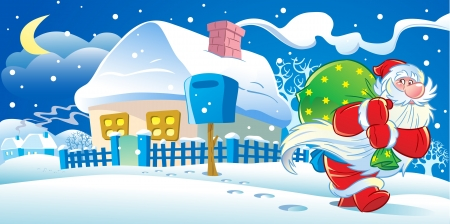 The illustration shows Santa Claus, who goes from house to house on Christmas night. He leaves home gifts. Illustration done in cartoon style.