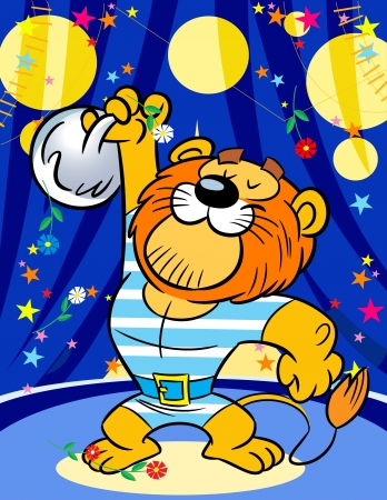 The illustration shows a powerful lion in the circus  He lifts weights   Illustration done on separate layers in a cartoon style  Vector