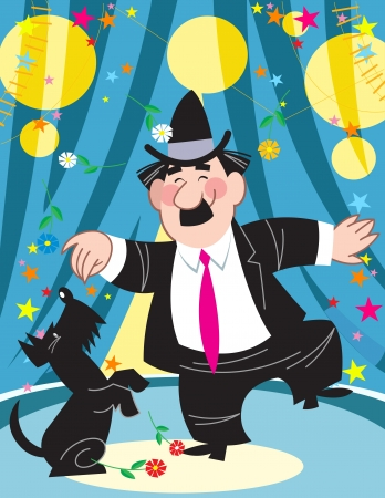 The illustration shows a clown in a black suit with a black dog in the circus arena   Illustration done on separate layers in a cartoon style Stock Vector - 14875198