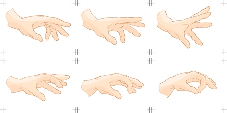 hand movements:   The illustration shows six animation frames of the catch something by human hand
