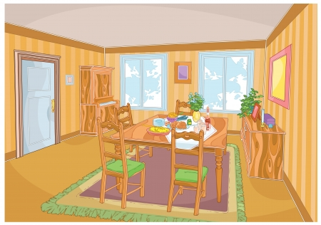 The illustration shows the interior of a living room with furniture and a laid table. Illustration performed made using the clipping mask.