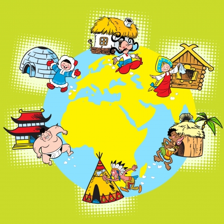 The illustration shows the diversity of races and nations of the population of the Earth. In the background of the world map. Vector