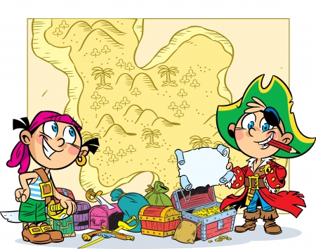 The illustration shows children playing pirates. Boy and girl in pirate clothes are on the background map . Next to them are the chest and attributes. Vector
