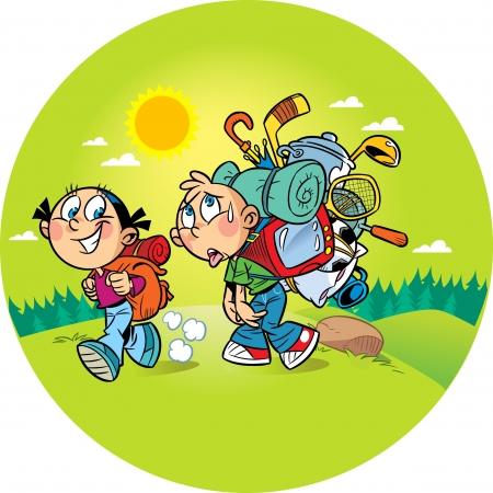 zaino: Nella figura, i bambini vanno a un viaggio in campeggio sulla natura. Ragazza va facilmente con un piccolo zaino, un ragazzo gravata da un carico pesante e lui difficile camminare. Illustrazione fatto in stile cartone animato, su livelli separati.